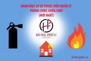 Danh mục cơ sở thuộc diện quản lý phòng cháy, chữa cháy (mới nhất)